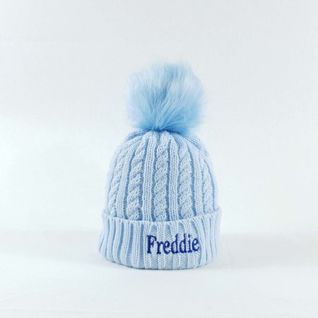 Personalised Blue Pom Bobble Hat
