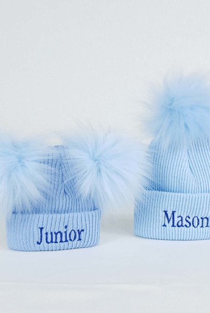 Personalised Newborn Boys Bobble Pom Hats