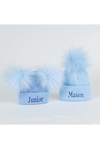 Personalised Newborn Boys Bobble Pom Hats