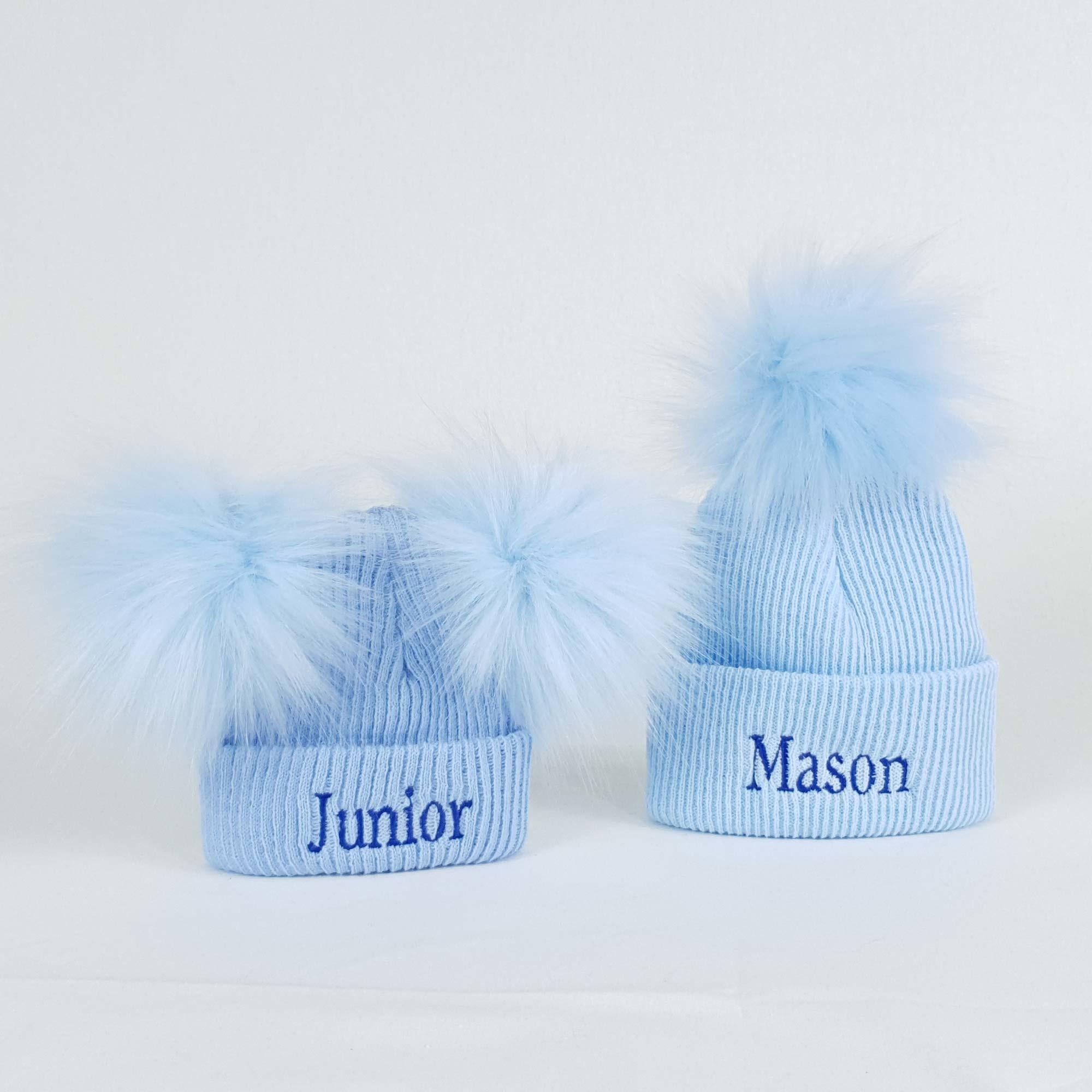 Personalised Baby Boys Newborn Bobble Pom Hats-1