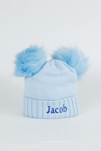 Personalised Blue Pom Pom Bobble Hats