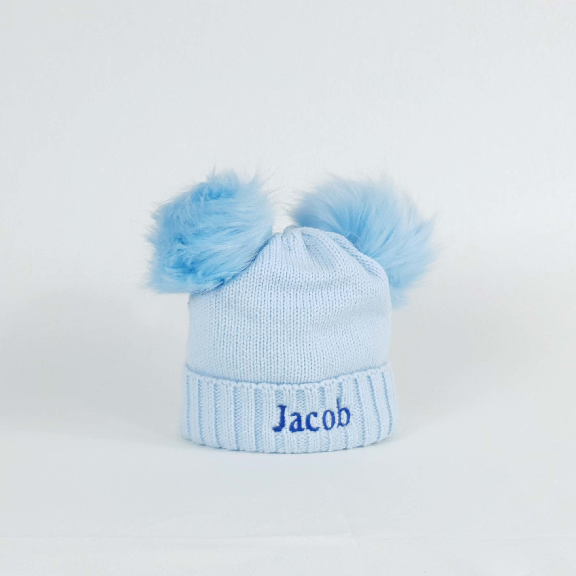 Personalised Blue Pom Pom Bobble Hats for Baby and Children-1