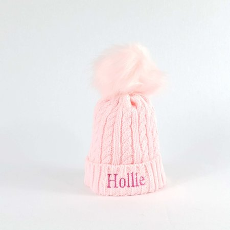 Personalised Pink Bobble Hat