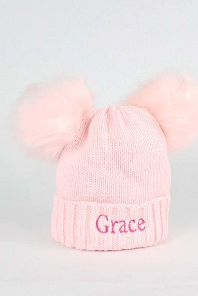 Personalised Pink Pom Pom Bobble Hat