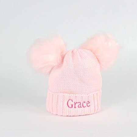 Personalised Pink Pom Pom Bobble Hat