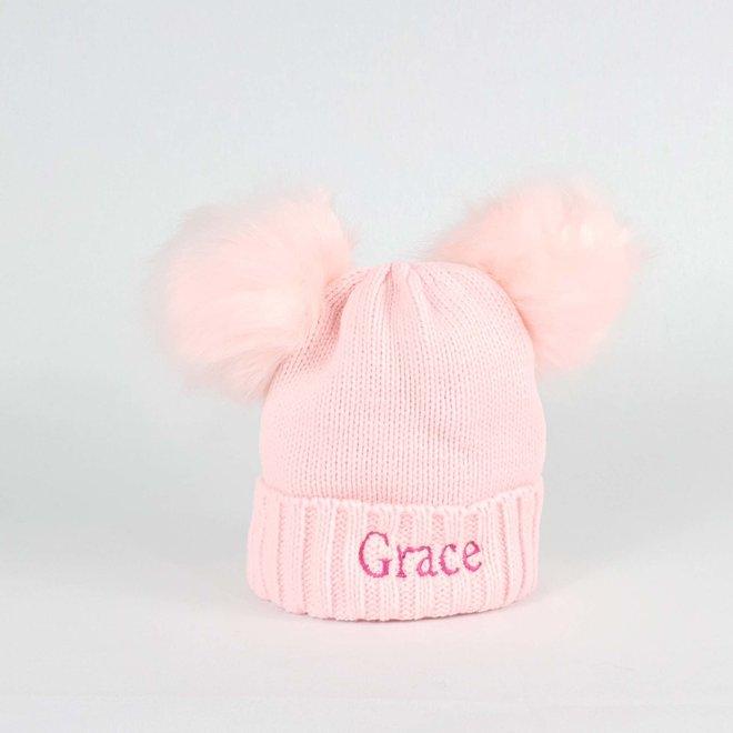 Pink Pom Pom Bobble Hat