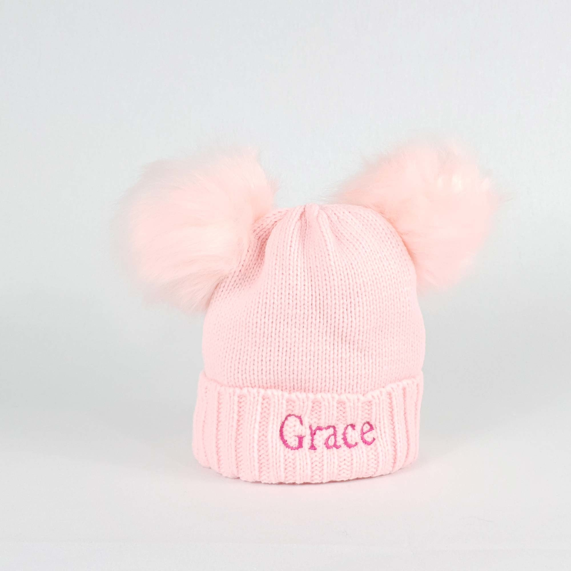 Personalised Pink Bobble Pom Pom Hat for Baby and Children-1