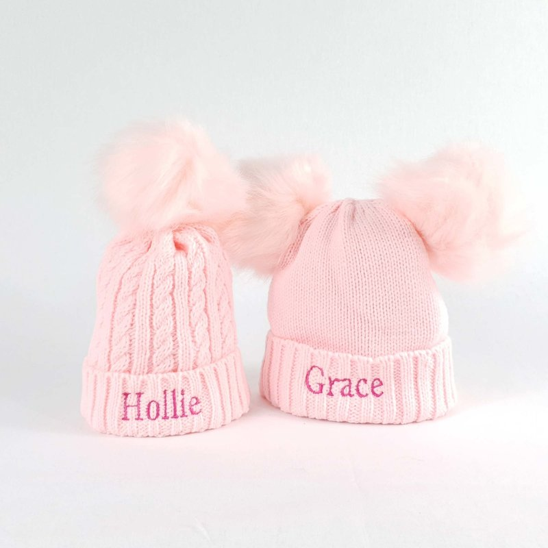 Personalised Pink Bobble Pom Pom Hat for Baby and Children