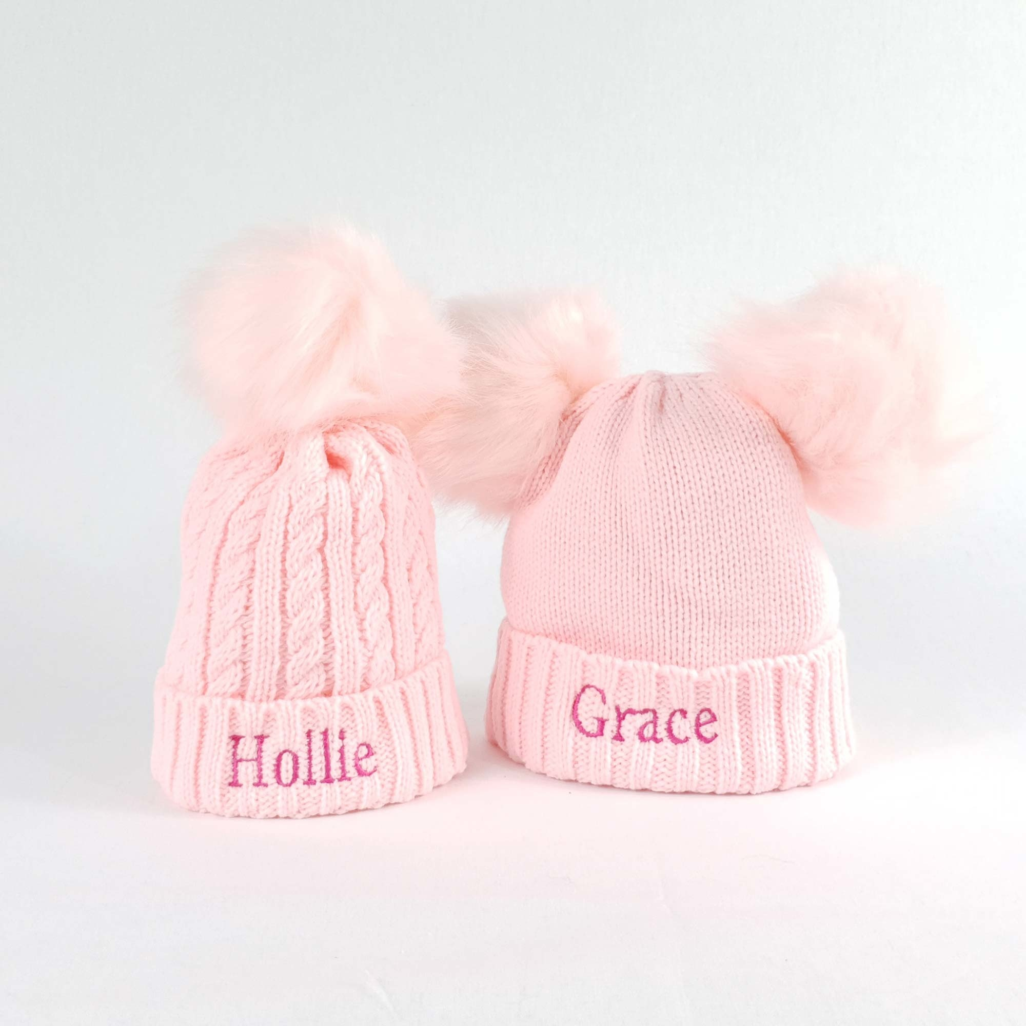 Personalised Pink Bobble Pom Pom Hat for Baby and Children-2