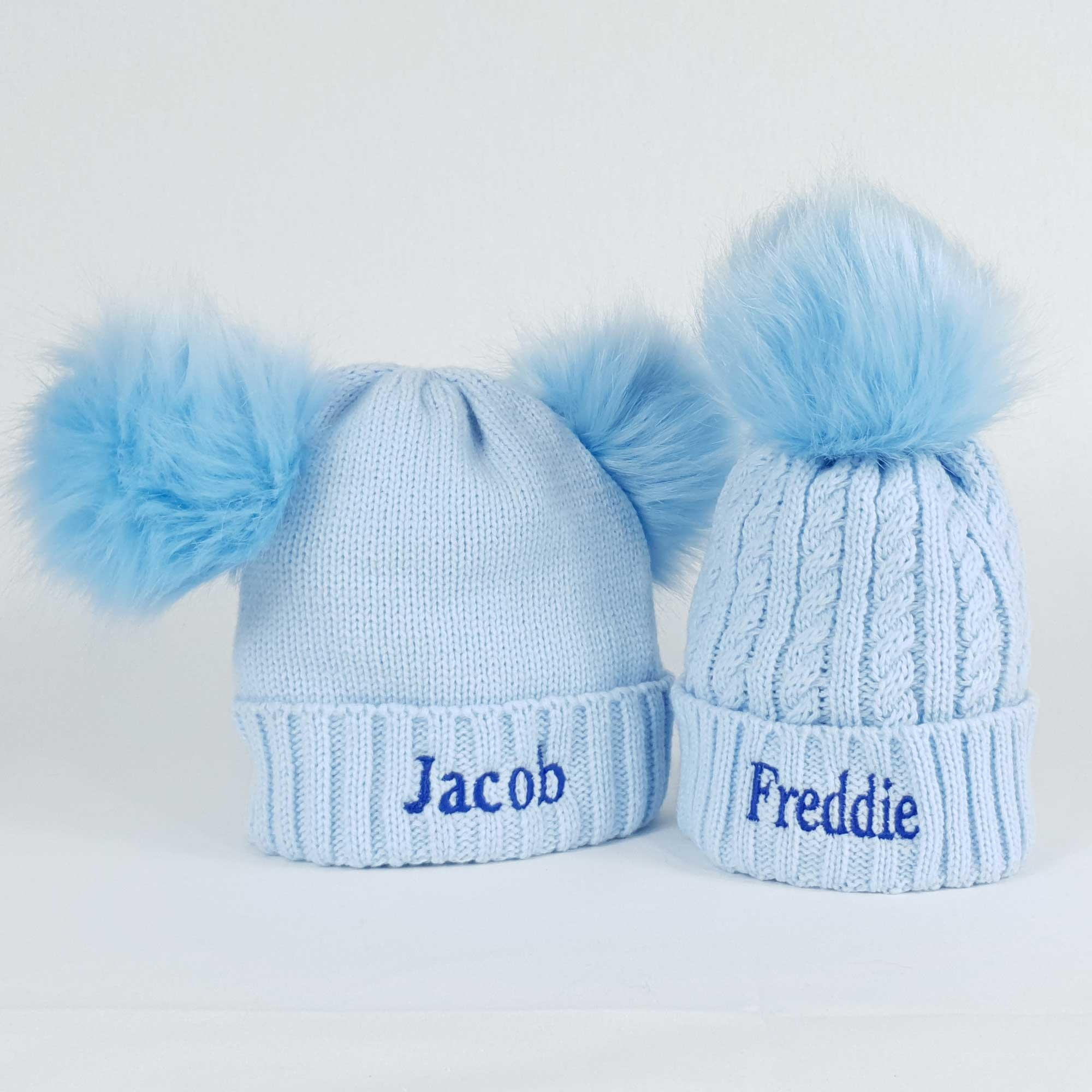 Personalised Blue Pom Pom Bobble Hats for Baby and Children-3