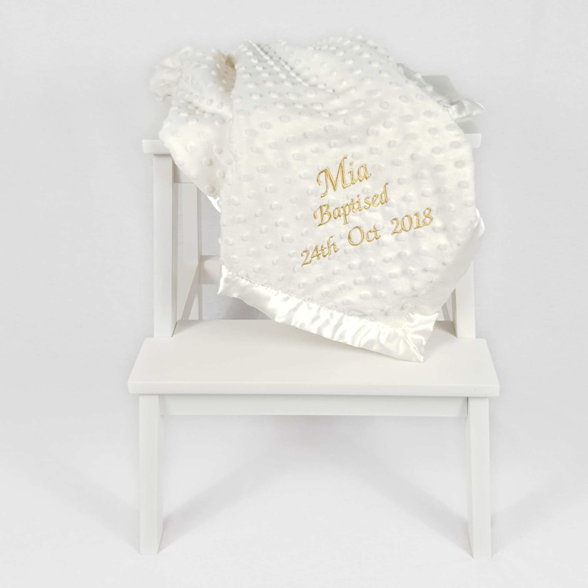 Ivory Baby Blanket with Dimples-1
