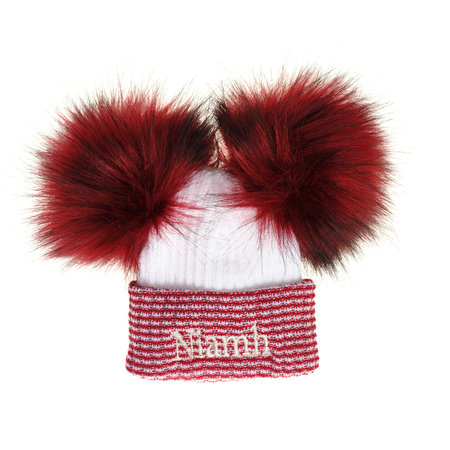 Red/White Newborn Hat - Faux Fur Pom Pom