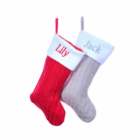 Personalised Knit Red/Grey Christmas Stockings