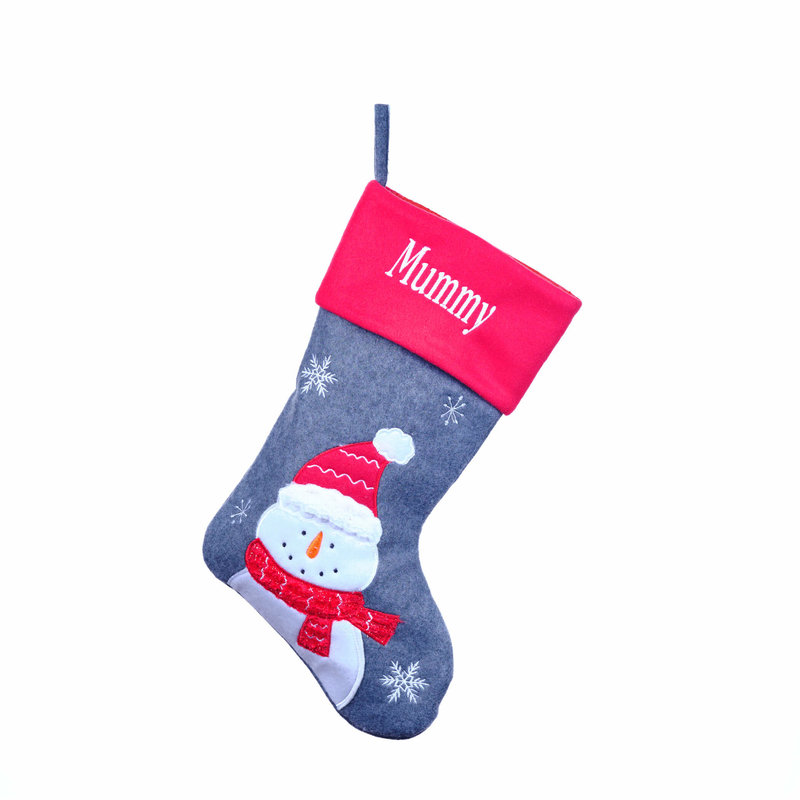 Personalised Grey/Red Stockings, Santa, Snowman, Reindeer, Penguin