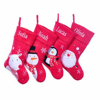 Personalised Red Stockings, Santa, Reindeer, Snowman, Penguin