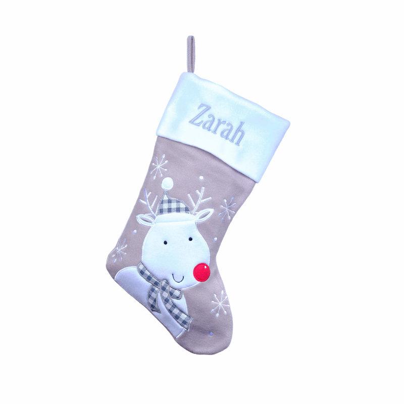 Personalised Grey Stockings, Santa, Snowman, Reindeer, Penguin