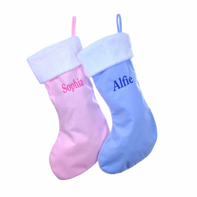 Personalised Pink and Blue Christmas Stockings