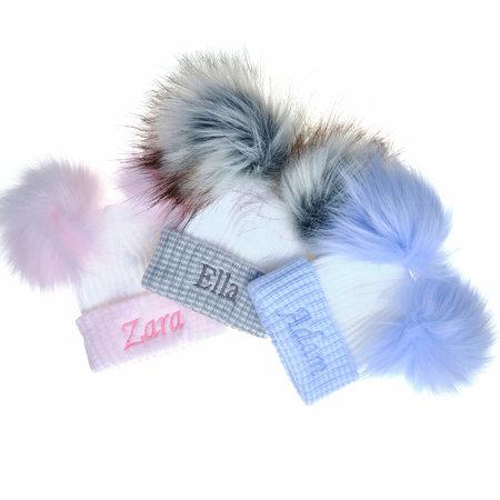 Personalised Newborn Baby Hats, Stripe with Faux Fur Pom Pom