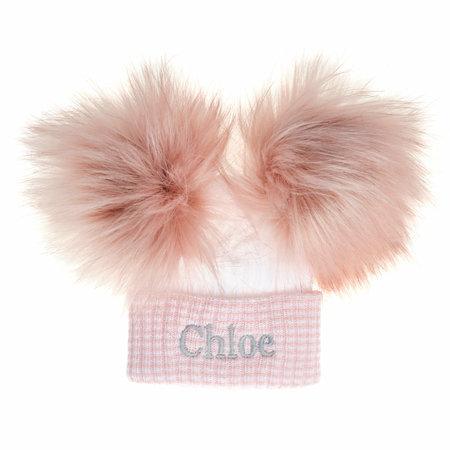 Dusty Pink/White Newborn Hat - Faux Fur Pom Pom