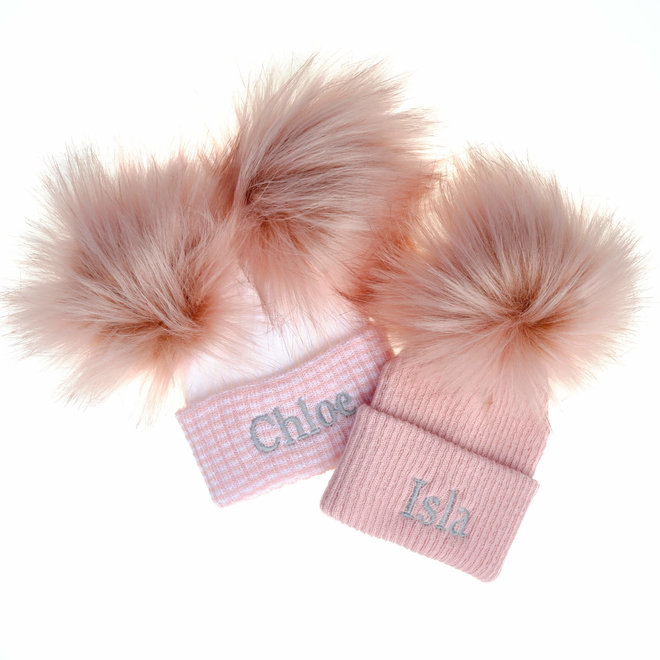 Personalised Dusty Pink/White Newborn Bobble Pom Pom Ribbed Hat