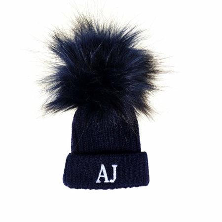 Navy Baby Hat - Faux Fur Pom