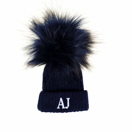 Navy Newborn Baby Hat - Faux Fur Pom