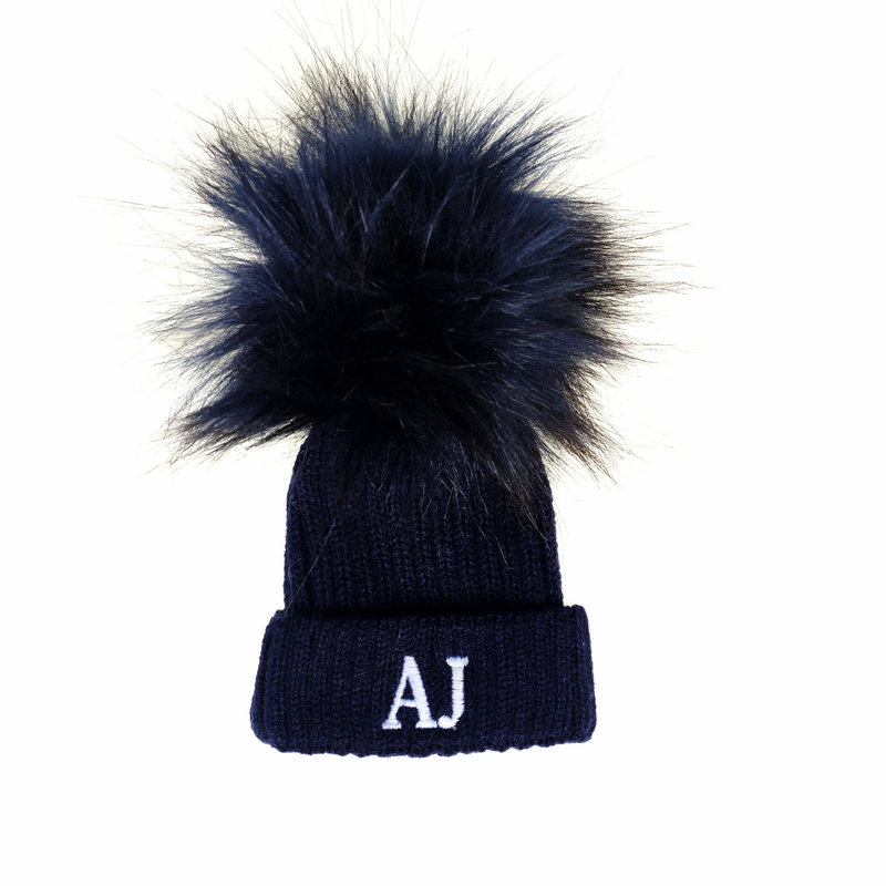 Personalised Navy Pom Baby Hats