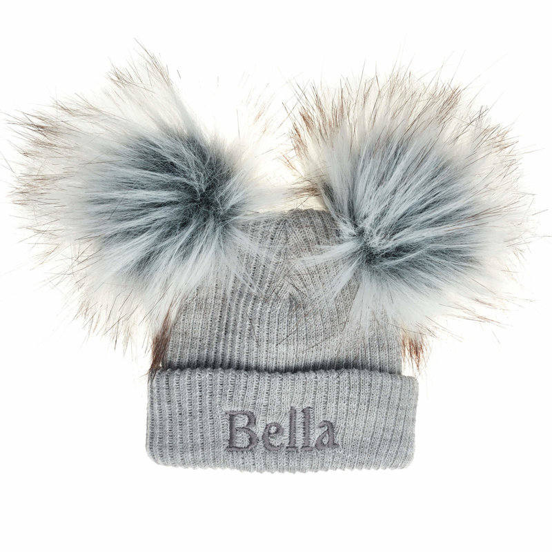 Personalised Ribbed Grey Pom Hats