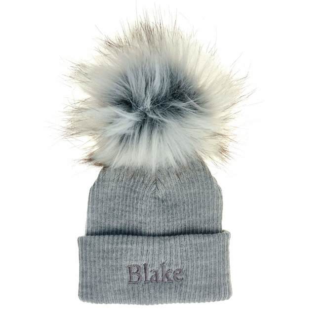 Personalised Ribbed Grey Bobble Pom Hats