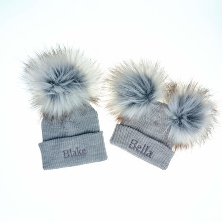 Personalised Grey Bobble Pom Ribbed Hats