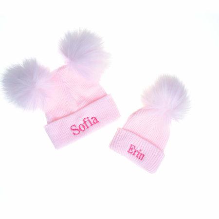 Personalised Newborn Girls Bobble Pom Ribbed Hats
