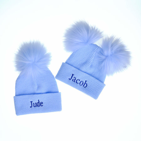 Blue Pom Ribbed Hats in 2 sizes & 2 styles