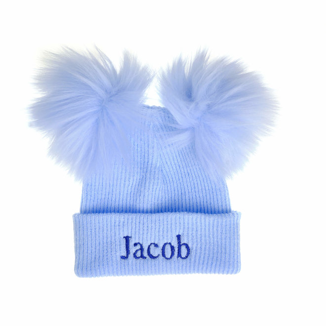 Personalised Ribbed Blue Bobble Pom Baby Hats