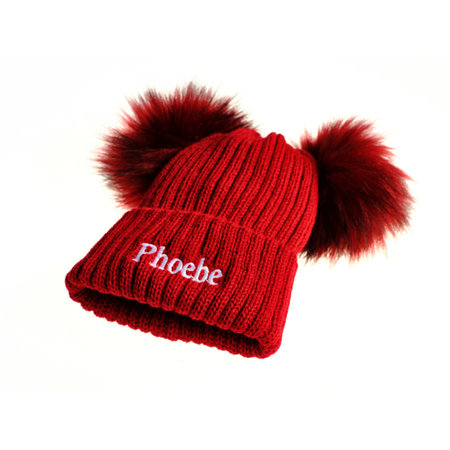 Red Knit 2 Pom Hat (0-6 Years)