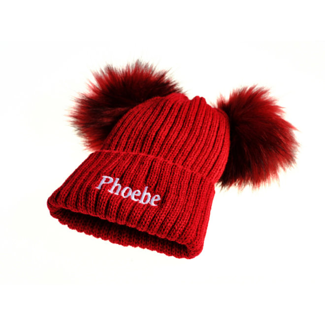 Personalised Red Bobble Pom Hats
