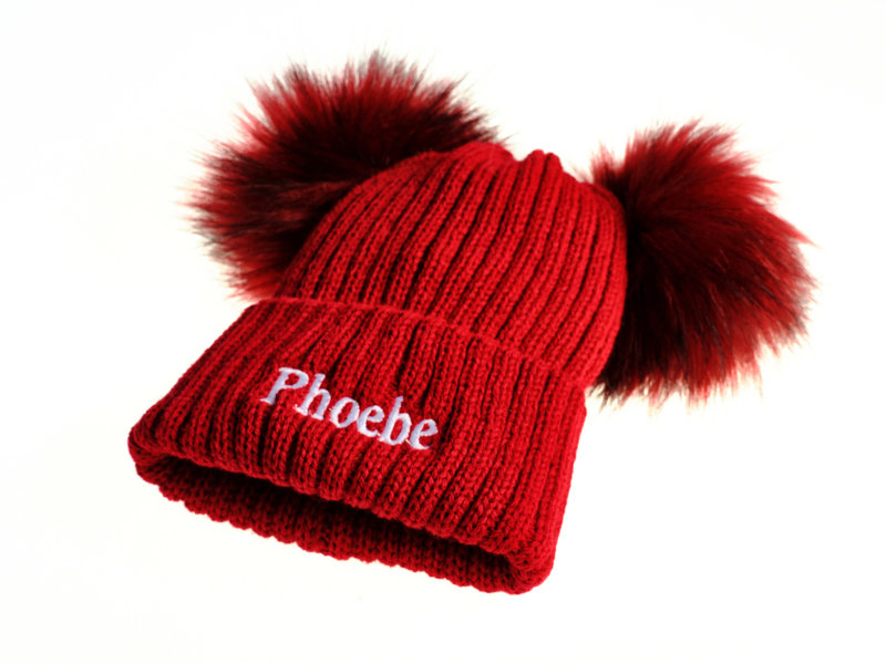 Personalised Red Knit Faux Fur Pom Pom Hats