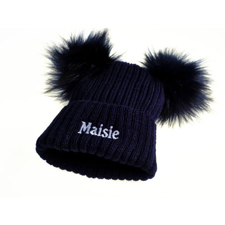 Personalised Navy Knit 2 Pom Hat (0-8years)