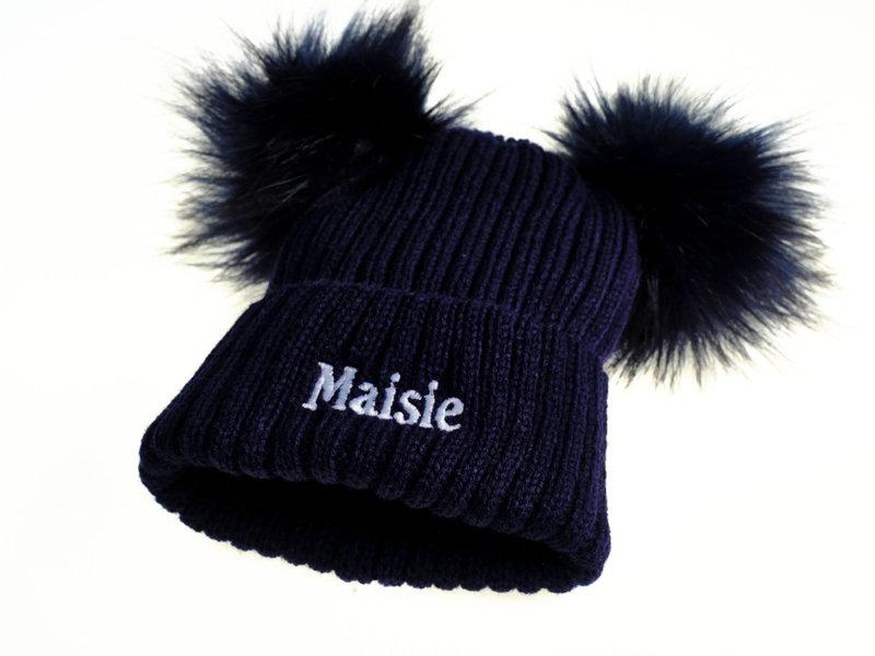 Personalised Navy Knit Faux Fur Pom Pom Hat