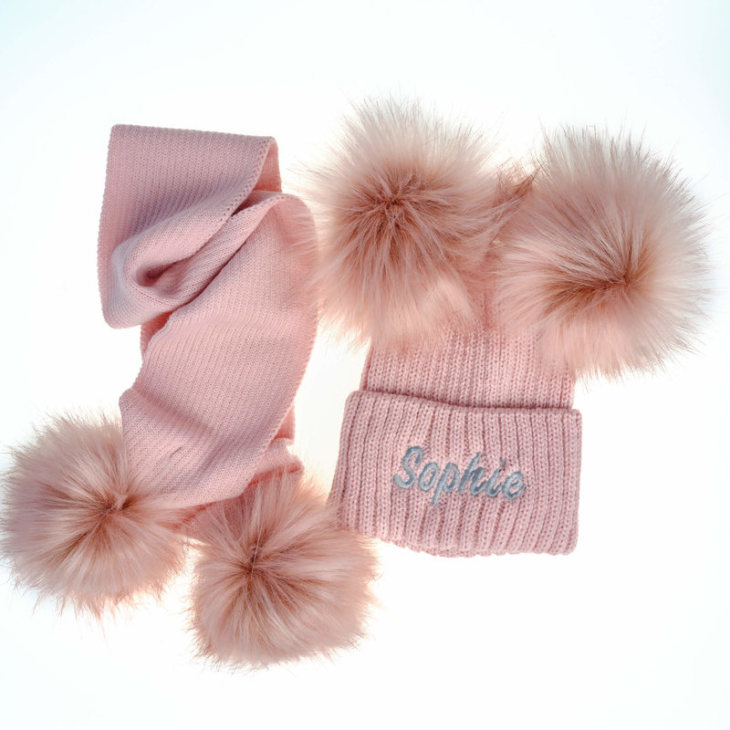 Personalised Dusty Pink Knit Faux Fur Pom Pom Hat