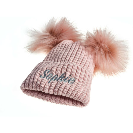 Personalised Dusty Pink Knit 2 Pom Hat (0-8years)