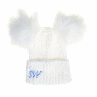 My Little Chick White Knit Pom Pom Hat, Baby & Kids 0-6 years