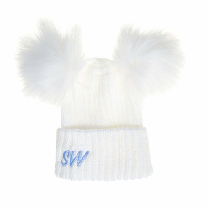 White Knit Bobble Pom Hat, Baby & Kids
