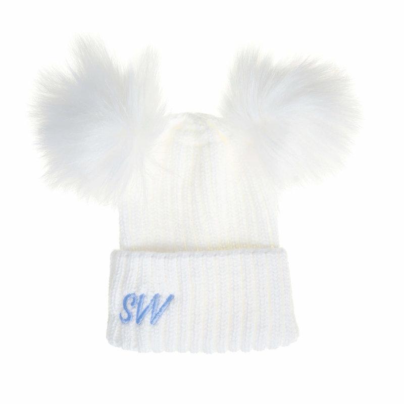 Personalised White Knit Faux Fur Pom Pom Hat