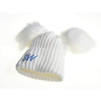 White Knit Pom Pom Hats