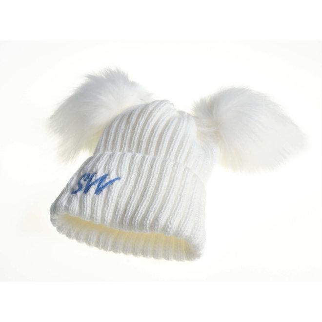 Personalised White Knit Bobble Pom Hat