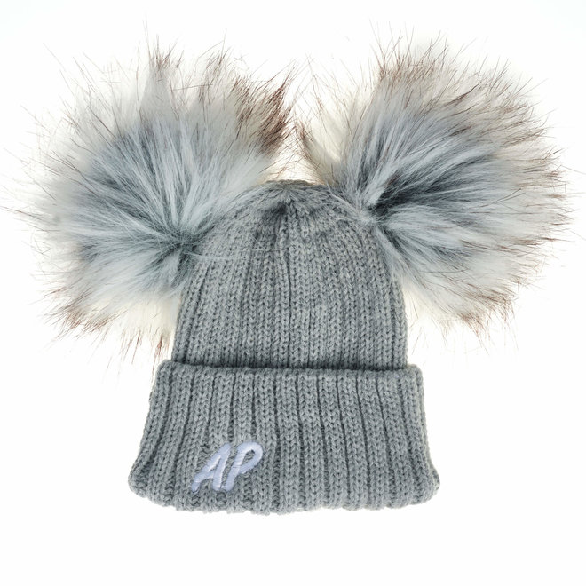 Personalised Grey Knit Bobble Pom Hat