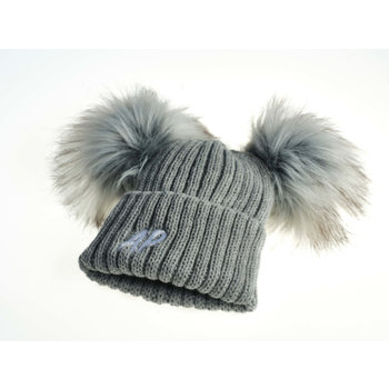 Grey Knit Pom Hats