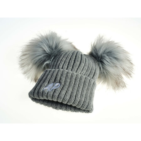 Personalised Grey Knit 2 Pom Hat (0-8years)