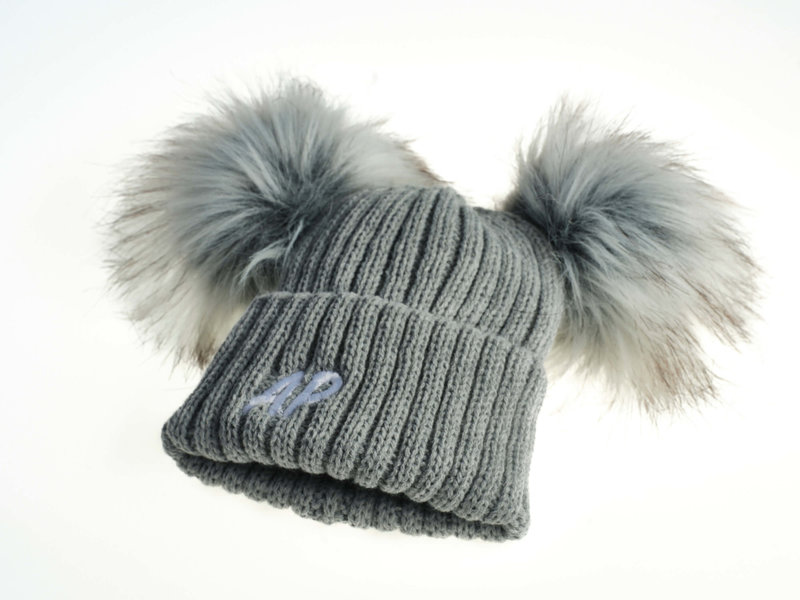 Personalised Grey Knit Faux Fur Pom Pom Hat
