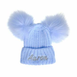 My Little Chick Blue Knit Kids Pom Pom Hat